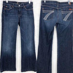 7 for all Mankind Dojo Flare White Stitch Jeans 28